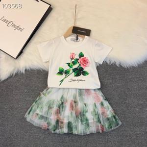 2020 2pcs juegos para niños niñas verano de algodón estampado floral faldas de la flor camisetas + tutú del cordón de trajes al por menor