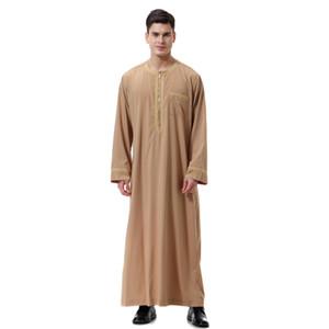 Neue heiße Männer Thobe Solid Color-Rundhalsausschnitt mit langen Ärmeln Reißverschluss arabischen Muslim Wear YAA99