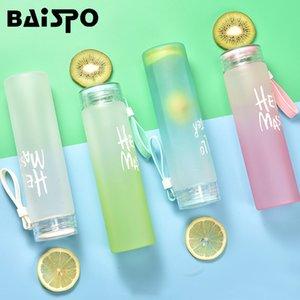 Venta al por mayor Frosted Glass Fitness Botella de agua Saludable 400ml Contenedor Summer Lemon Water Cup Botellas de bebida para picnic al aire libre