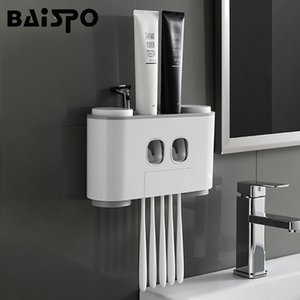 Baispo Bathroom Automatic Toothpaste Dispenser Toothpaste Squeezer Wall Paste Mounted Toothbrush Holder Bathroom Accessories Set T190708