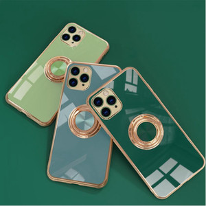 Electroplating 6D Precision hole camera protective case for iphone 12 11 pro max xr xs iphone 6 7 8 Plus magnetic Finger Ring cell case