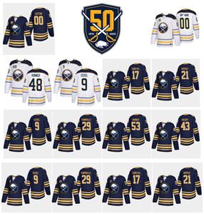 53 Jeff Skinner 50 ° anniversario Buffalo Sabres maglie 9 Jack Eichel 26 Rasmus Dahlin Jason Pominville 6 Colin Miller Wilson Hockey maglie
