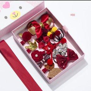 18-Pack Принцесса Девушка Волосы Луки Клип Заколки Аксессуары Подарочная Коробка Для Детей Розовый Кролик Звезда Цветочный Букет Бутик Подарок Сладкий Дизайн