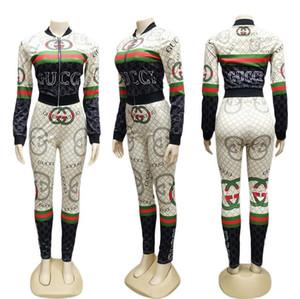 2019 springAutumn Print 2 Two Piece Set Top e pantaloni Donna Taglie forti Tute sportive Tute sportive Abbigliamento donna
