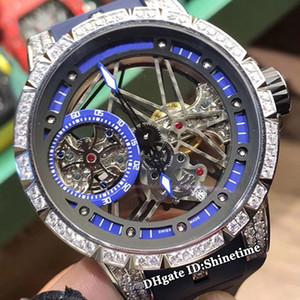 Top Quality Excalibur 42 RDDBEX0404 Skeleton Dial mecânico de corda mão Mens Watch Diamond Prata Caso Preto Rubber Strap Esporte Relógios