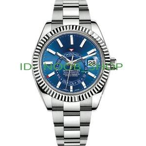 남성 시계 고품질 자동 기계 비즈니스 스카이 거주자 GMT 달력 시계 스테인레스 스틸 발광 방수 손목 시계