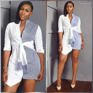 Shirt Skirt Panelled Striped Long Sleeve Shirts Dress Fashion Lady Sashes Causal Long Blouses Women Clothing Sexy Womens Summer