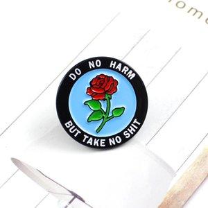 Rodada Rose emblema esmalte lapela não fazer mal Mas tome Presentes No Shit Rose Romantic Broche Denim Cap Backpack Acessórios Punk