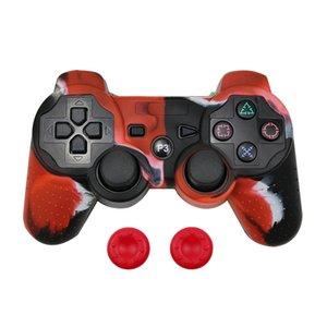 Capa de silicone protetora da pele + Analog Sticks aperto Para Sony PS3 controlador tampas Para PS2 / PS3 / PS4 Gamepad Camouflage