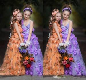 Belle coloré robes fille fleur Personnalisées fleur Retour lacent main filles Pageant Robes bébé parole longueur robe Communion