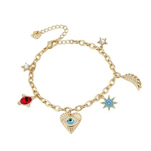 Women Gold Bracelet Embellished with Red Crystals Bracelets Heart Design Charm Bracelet for Love Gifts