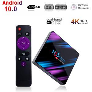 H96 Max Android 10 10.0 TV Box 4GB RAM 32GB ROM Set Top Box RK3318 Quad Core 4K 2.4G 5G Dual Band WiFi Bluetooth Smart TV Box Media Player