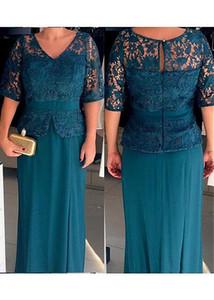 2019 V Yaka Yarım Kollu anneler Elbiseler Dantel Üst Örgün Uzun Kadın anne Gelin Elbiseler Mütevazı Özel Akşam Parti törenlerinde Ucuz
