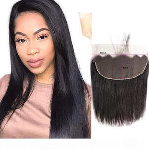 Malaysian Menschenhaar 13x6 Spitze Frontal seidige gerade Jungfrau-Haar 13 von 6 Frontal Gerade Top Verschlüsse Natural Color