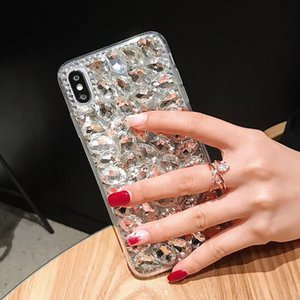 Bling bling completa handmade diamante tampa traseira vegan cristal strass phone case para iphone xs max xr 6 s 8 plus samsung s10 huawei