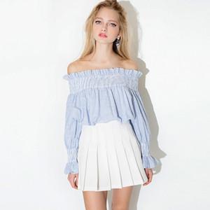 Europa Und Die Vereinigten Staaten Kalter Wind Mädchen Schulter Trägerlos Gestreiftes Puppenhemd Langarmhemd