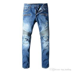 Mens Distressed Ripped Biker Jeans US Size 29~42 Slim Fit Motorcycle Biker Denim For Men Fashion Designer Hip Hop Men Jeans Good Quality