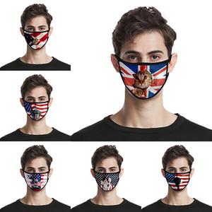 Día de la Independencia en 3D a prueba de polvo lavable cara tela de seda de hielo impreso manera mas navidad universal para los hombres y la bandera americana de la máscara de envío