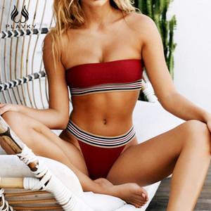 PLAVKY 2019 Sexy Estilo Simples Bandeau Biquini Bandagem Listrada Sólida Fato De Banho Maiô Swimwear Tanga Swimwear Mulheres Biquíni