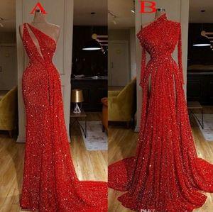 2020 Burgunder langen Hülsen-Rot Sequin Nixe-Abschlussball-Kleid-Reflective Split Side Abendkleider robe de Soiree