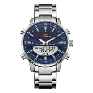 KT 2019 новые мужские часы с двойным дисплеем из нержавеющей стали водонепроницаемый 3D циферблат аналоговый цифровой хронограф мужской спортивный стиль KT1815