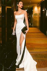 Incrível Novos Vestidos de Noite Fino 2019 Strapless Branco Vestido De Cetim Com Listra Preta Alta Fenda Prom Vestidos de Festa 2019 Vestidos Personalizados De Soiree