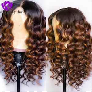 Resistente al agua onda profunda de la onda Parte barato pelucas delanteras sin cola sintética Ombre Brown del cordón con el bebé Medio de Cabello pelucas de pelo para las mujeres