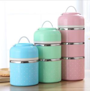3 color lindo japonés caja de almuerzo térmica a prueba de fugas de acero inoxidable Bento caja portátil Picnic escuela contenedor de alimentos KKA5696