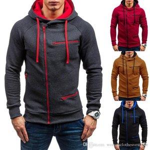 Hoodies вскользь капюшон Solid Color Coat Мода Zipper Тонкой Лоскутная Толстовка конструктора Mens кардиган
