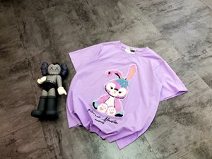 20ss New Arrival Paris designer purple Flocking rabbit Tee Breathable short Sleeve Tshirt Men Women Casual Outdoor Streetwear Tshirts 6.28