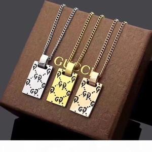 Moda Unissex CC Carta Designer Gold Silver Rose Gold Três cores Pendant de luxo Aço inoxidável colares Jóias presente com caixa
