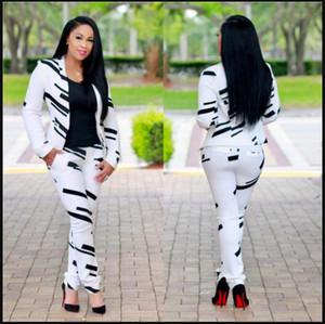 Modedesigner Frauen Tracksuits Striped Drucken Zwei Stück Outfits langen Hülsen-Frauen Tracksuits Casual Weibliche Kleidung