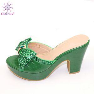 New Green Women Summer Shoes Slip on Shoes for Women High Quality Rhinstone Wedding 2019