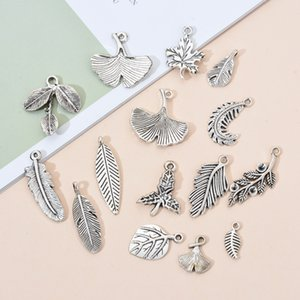 10PCS Lot of Antique Silver Leaves Charm Pendant Fit Bracelet Necklace Earring Keychain Creative Jewelry Accessories Gift