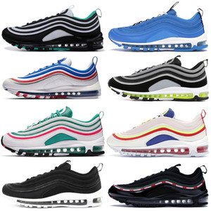1997s Mens Running Shoes Almofada Homens Mulheres refletir prata prata metálica líquido branco Moda OG Atlético Sport Formadores Sneakers