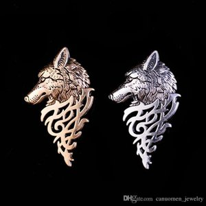 Волчья Голова Брошь булавку Vintage Мужские костюмы Воротник Знак Pins Игра Престолов Сувенирные Wolf Totem Men Charming Животные броши