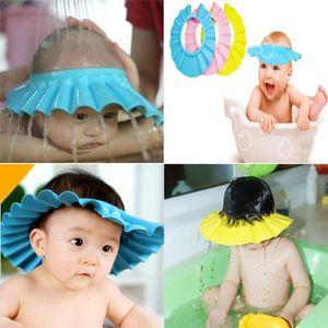 Al por mayor de a prueba de agua ajustable del bebé gorros de baño infantil Los niños pequeños a los niños seguros EVA Soft Champú cuidado del bebé casquillo de la protección de baño para recién nacido
