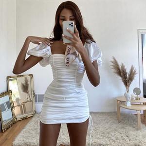 Womens popolare 2020 nuovo modo di estate via shot Sexy temperamento pieghe coulisse regolabile Dress