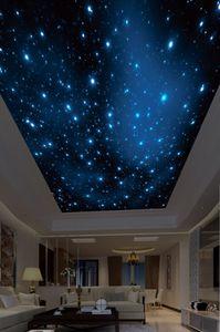 Пользовательские 3D фото обои потолки Красивые звездное небо потолок фреска фон стена