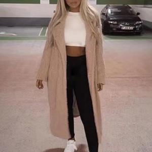 Escudo del invierno del otoño mujeres de la piel floja ocasional larga sólida peluche Capa Caliente Mujer retro gruesa chaqueta de piel de imitación de felpa Outwear