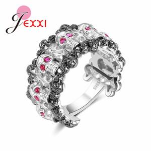 JEXXI новый панк-рок женщины персонализированные кольца старинные готический скелет ювелирные изделия античный 925 серебро властный череп мода кольцо