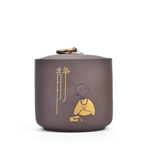 Thé en céramique traditionnelle argile pourpre pot Cuisine de stockage Jars Sucrier Petit Moine Motif Conteneurs Décoration intérieure Art