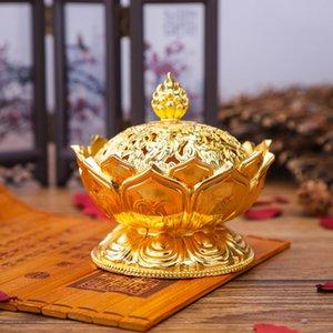 300 ADET Alaşım Hollow Kapak Aromaterapi Fırın Lotus Şekilli Tütsü Brülörler Çift Ejderha Kulak Hazineleri Ev Buhurdan Doldurun