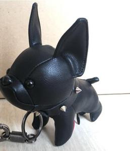 2019 cuir tissu bulldog image porte-clés vieille fleur super mignon mignon chiot chien forme bagage accessoires pendentif