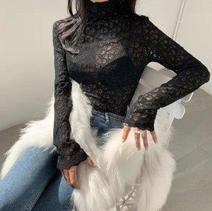 Женские блузки рубашка Сексуальная кружевная водолазка сетка футболка модный бренд hot Ins дамы сексуальное письмо мягкий длинный рукав Slim fit top OL блузка