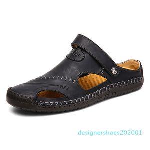 Vera Pelle Classic Mens Sandali estate Maschio Beach sandali comodi molli Maor Beach Pantofole slip-on Man d01