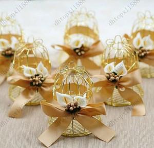Venta caliente Navidad Única Caja de jaula de metal de oro simple Cajas de dulces Eventos de boda Regalos de San Valentín de Navidad Favores de boda