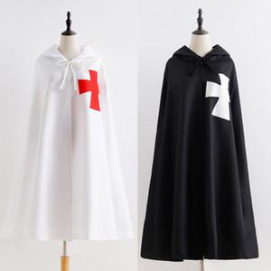 Бесплатная доставка Хэллоуин Средневековый Рим католический тамплиеры Crusader войны косплей костюм Мужчины мыс плащ Robe мундир рубашка Outfit Для взрослых