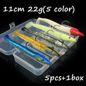5pcs / 1box 5 colori misti 3D occhi per maschere di piombo + PVC morbido adesca i richiami che 11 centimetri 22g Pesca singolo Pesca Ganci BL_2