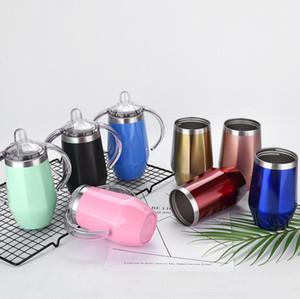 Bebê Sippy Cup 8 cores Forma de Diamante de aço inoxidável Caneca Duplas Crianças Cup com alça Wine Beer Glasses LJJO6808-6